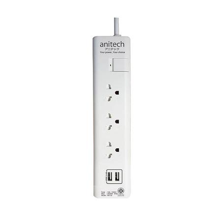 Anitech ปลั๊กไฟ มอก. 3 ช่อง 2 USB 1 สวิตช์ สายยาว 3 ม. รุ่น H5133 สีขาว