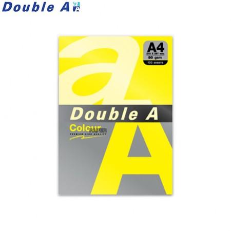 Double A กระดาษสี A4 หนา 80 แกรม (แพ็ก 100 แผ่น) สีเหลืองเข้ม (Lemon)