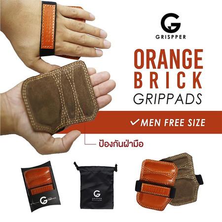 Grispper แผ่นรองฝ่ามือหนังแท้ สำหรับผู้ชาย ฟรีไซส์ สีส้ม