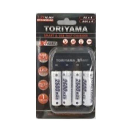 Toriyama แท่นชาร์จ + ถ่านชาร์จ รุ่น AA2600 แพ็ก 4