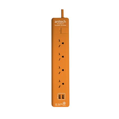 Anitech ปลั๊กไฟ มอก. 4 ช่อง 2 USB 1 สวิตช์ สายยาว 3 ม. รุ่น H5134 สีส้ม