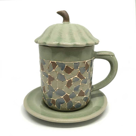 ChiangMai Celadon ชุดแก้วน้ำชา ศิลาดลโมเสค ฝาใบบัว จานรองกลม