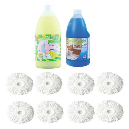 EasyMop ชุดอ่ะไหล่ผ้าม๊อบเปลี่ยน 8 ผืน+ น้ำยาถูพื้นประจำวัน+ น้ำยาดับกลิ่น