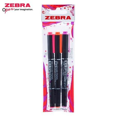Zebra Optex Care ปากกาเน้นข้อความ 2 หัว WKCR1-3A (แพ็ก 3 ด้าม)