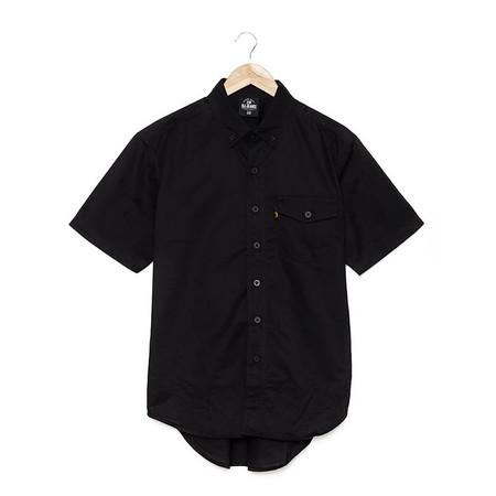 BJ JEANS Shirt BJWS-1119 #Solid-coloured Buttoned Flap Black Size L
