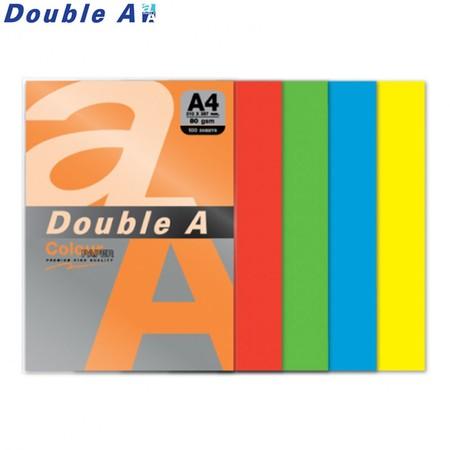 Double A กระดาษสี A4 หนา 80 แกรม (แพ็ก 100 แผ่น) คละ 5 สีเข้ม