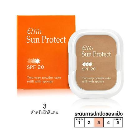 Effin Sun Protect 2-Way Powder Cake SPF20 (รีฟีล with Sponge) No.03 14 ก.