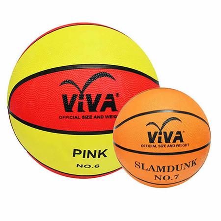 VIVA เซ็ต บาสเกตบอลยางฝึกซ้อม รุ่น PINK เบอร์ 6 และบาสเกตบอลยางสีพื้น แข่งขัน รุ่น 2000 เบอร์ 7