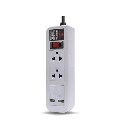 ELECTON สายพ่วง ปลั๊กไฟ คุณภาพ A มอก. 2 เต้า 1 สวิตช์ 2 เมตร 2 USB 10A รุ่น EP-A202U2 สีขาว