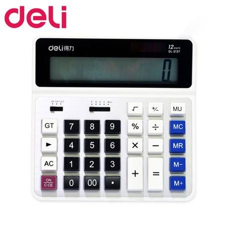 Deli 2137 เครื่องคิดเลขแบบตั้งโต๊ะ 12 หลัก สีขาว
