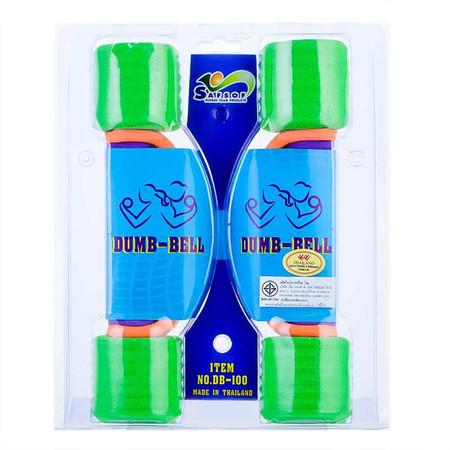 Thai Sports ดัมเบลหุ้มโฟม มีสายคล้อง น้ำหนัก 1 กก. สีเขียว รหัสสินค้า E5HDB100N