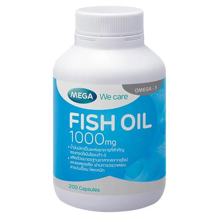 Mega We Care FISH OIL 1000 มก. บำรุงร่ายกายและสมอง บรรจุ 200 แคปซูล