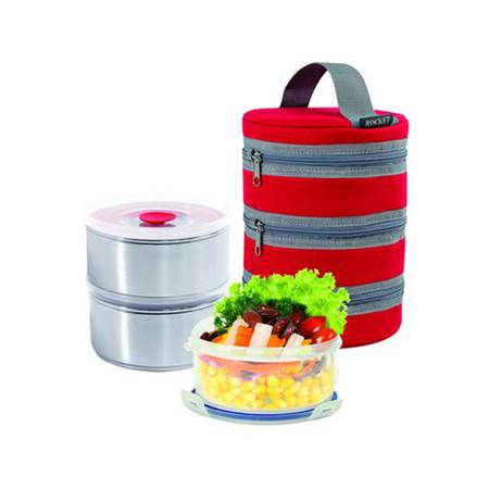 Rocket ชุดกล่องอาหาร 14 ซม. 3 ชิ้น พร้อมกระเป๋าเมจิกสีแดง