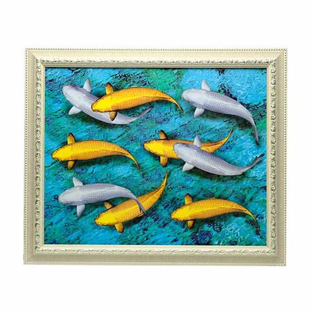 เยี่ยมศิลป์ กรอบรูปสำเร็จพร้อมภาพ ปลาคราฟ สีทอง สีเงิน YS-0023