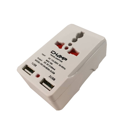 Champ ปลั๊กนอก 2 ทาง + 2 USB รุ่น CH-823A-2USB (CH 931B)
