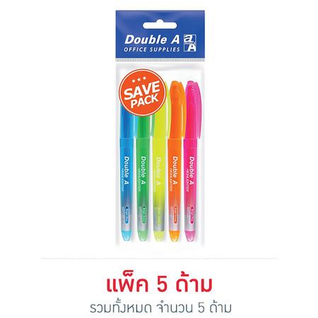 Double A ปากกาเน้นข้อความ Bright Color คละสีนีออน (แพ็ก 5 ด้าม)