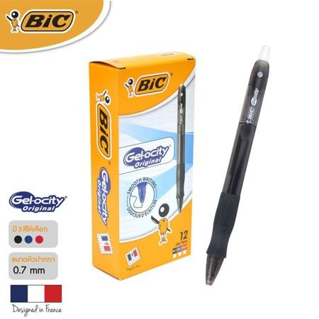 BIC ปากกาเจล Gel-ocity Original Clic 0.7 มม. (12 ด้าม/กล่อง) สีดำ