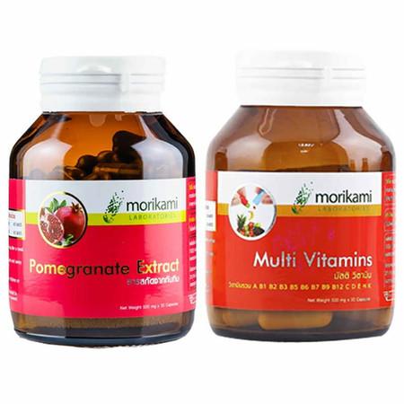 Morikami เซ็ทประกอบด้วย Multi Vitamins 500 มก. บรรจุ 30 แคปซูล และ Pomegranate Extract 500 มก.บรรจุ 30 แคปซูล