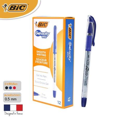 BIC ปากกาเจล Gel-ocity Stic 0.5 มม. (12 ด้าม/กล่อง) สีน้ำเงิน