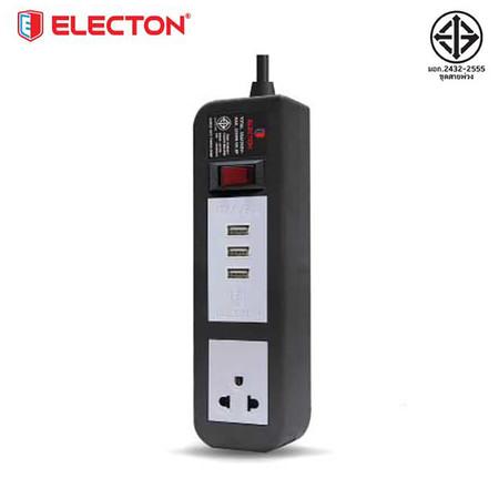 ELECTON ชุดสายพ่วง ปลั๊กไฟ คุณภาพ A มอก. 1 เต้า 1 สวิตช์ 2 เมตร 3 USB 10A รุ่น EP-A102U3 สีดำ