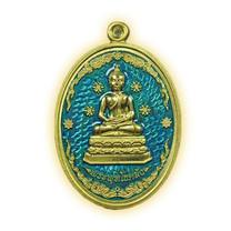 เหรียญพระพุทโธคลัง เนื้อทองทิพย์ลงยา สีฟ้า