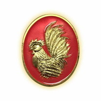 เหรียญไก่ฟ้าพญาเลี้ยง กะไหล่ทองลงยาชมพู พิมพ์เล็ก