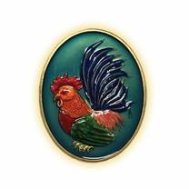 เหรียญไก่ฟ้าพญาเลี้ยง กะไหล่ทองลงยาฟ้า พิมพ์ใหญ่