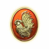 เหรียญไก่ฟ้าพญาเลี้ยง กะไหล่ทองลงยาส้ม พิมพ์เล็ก