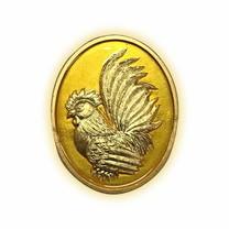 เหรียญไก่ฟ้าพญาเลี้ยง กะไหล่ทองลงยาเหลือง พิมพ์เล็ก