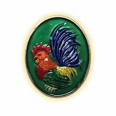 เหรียญไก่ฟ้าพญาเลี้ยง กะไหล่เงินลงยาเขียว พิมพ์ใหญ่