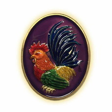 เหรียญไก่ฟ้าพญาเลี้ยง กะไหล่ทองลงยาม่วง พิมพ์ใหญ่