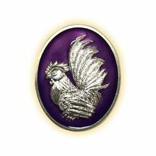 เหรียญไก่ฟ้าพญาเลี้ยง กะไหล่เงินลงยาม่วง พิมพ์เล็ก