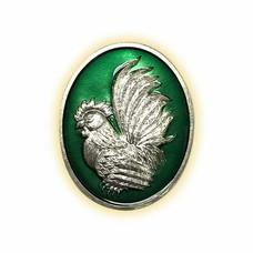 เหรียญไก่ฟ้าพญาเลี้ยง กะไหล่เงินลงยาเขียว พิมพ์เล็ก