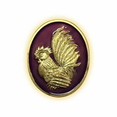 เหรียญไก่ฟ้าพญาเลี้ยง กะไหล่ทองลงยาม่วง พิมพ์เล็ก