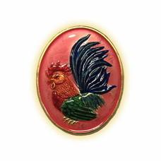 เหรียญไก่ฟ้าพญาเลี้ยง กะไหล่ทองลงยาชมพู พิมพ์ใหญ่