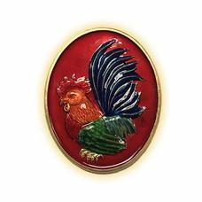 เหรียญไก่ฟ้าพญาเลี้ยง กะไหล่ทองลงยาแดง พิมพ์ใหญ่