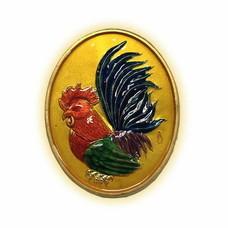 เหรียญไก่ฟ้าพญาเลี้ยง กะไหล่ทองลงยาเหลือง พิมพ์ใหญ่