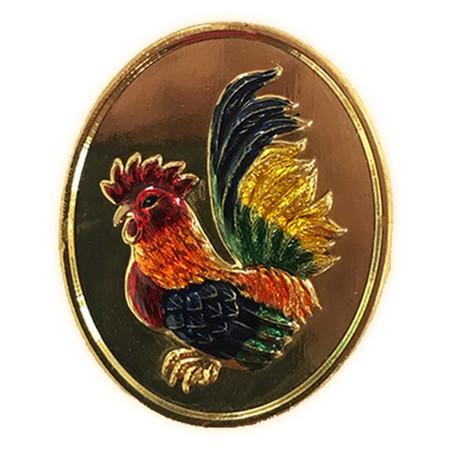 เหรียญไก่ฟ้าพญาเลี้ยง แซยิด ๘๐ปี หลวงปู่สรวง เนื้อชุบทองลงยา ปี๕๖
