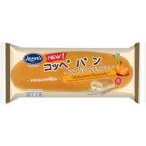 เลอแปง ขนมปังฮอทดอกไส้ครีมเนยและไส้เจลรสส้ม 85 กรัม