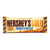เฮอร์ชีส์โกลด์บาร์ช็อกโกแลตพีนัดและเพลทเซล 39 กรัม