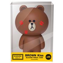 กล่องดินสอซิลิโคน Brown Kiss Line Friends