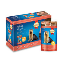 สมาร์ทฮาร์ทอาหารสุนัขเปียก รสแซลมอน 130กรัม 1แพ็ก (12ซอง)