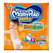 กางเกงผ้าอ้อมเด็กมามี่โพโค แฮปปี้แพ้นท์ เดย์&ไนท์ ไซส์ L 14 ชิ้น