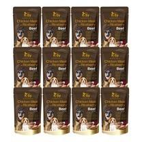 อาหารสุนัขเปียกเคซีไก่+ไรซ์เบอร์รี่ รสเนื้อ130ก. (1แพ็ก 12 ซอง)