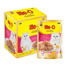 อาหารแมวเปียก ดีไลท์ รสทูน่าและปลาโอในเยลลี่ (แพ็ก 12 ชิ้น)