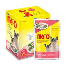 มีโออาหารแมวเปียก มีโอรสซาร์ดีนและกระพงในเยลลี่ 80 กรัม 1แพ็ก (12ซอง)