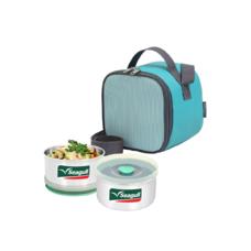 ชุดกล่องอาหารพร้อมกระเป๋า คิวบิค สีเขียว