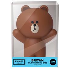 กล่องดินสอซิลิโคน Brown Hand Up Line Friends