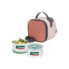 ชุดกล่องอาหารพร้อมกระเป๋า คิวบิค สีชมพู