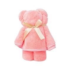 ชุดถุงของขวัญ ผ้าขนหนูน้องหมี สีชมพูโอรส